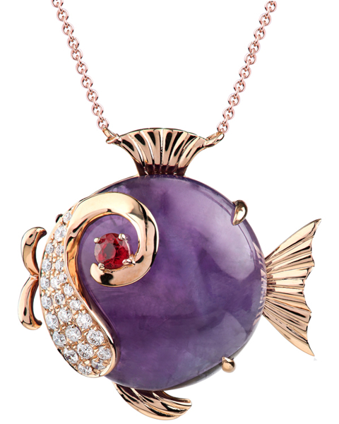 photo of purple fish pendant