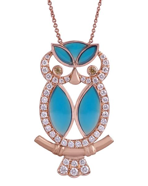 photo of owl blue enamel pendant