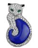 photo of fancy cut lapis lazuli cat pendant