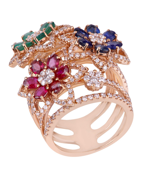 photo of flower design ring with colorful gemstones