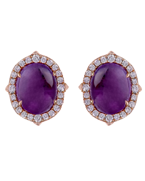 photo of oval cut amethyst earrings