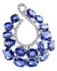 photo of oval cut sapphire earrings