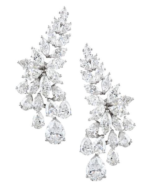 photo of pear & marquise cut diamond earrings