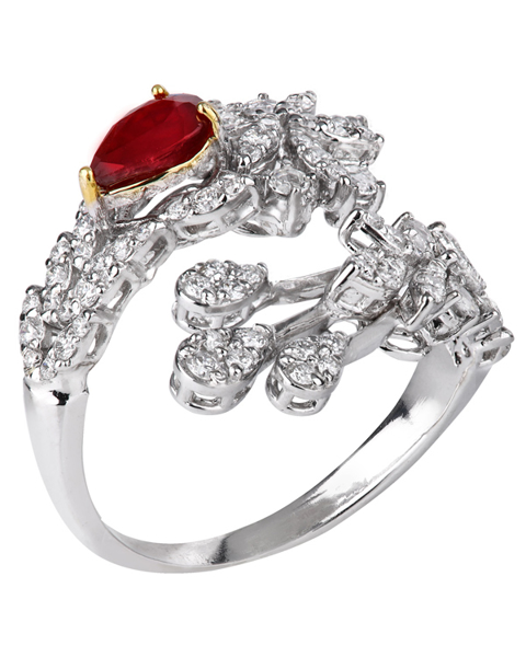 photo of pear cut ruby ring