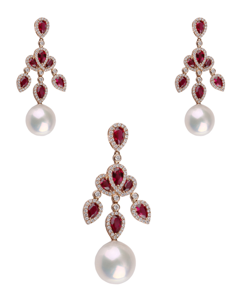 photo of pearl & pear cut ruby half set