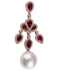 photo of pearl & pear cut ruby pendant of  half set