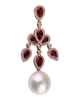 photo of pearl & pear cut ruby earring of  half set