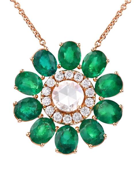 photo of rose cut diamond & emerald pendant