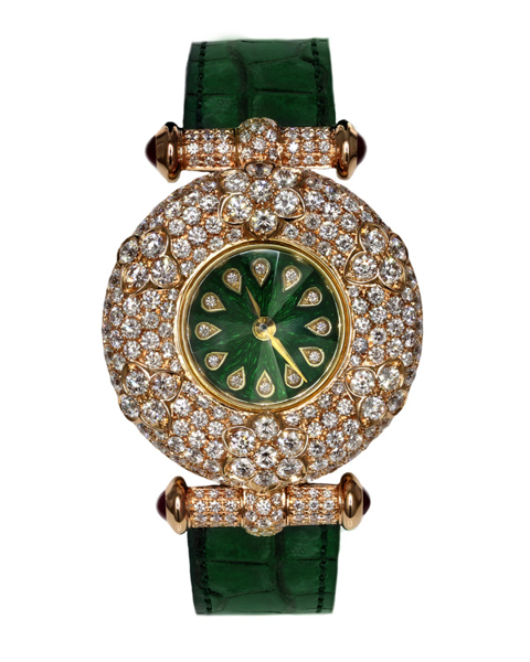 photo of round cut diamond green watch