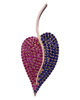 photo of ruby & sapphire leaf earrings