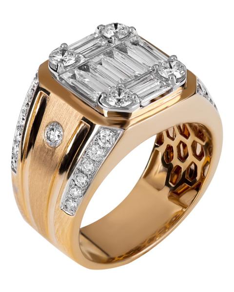 Yellow gold Baguette Cut Diamond Ring