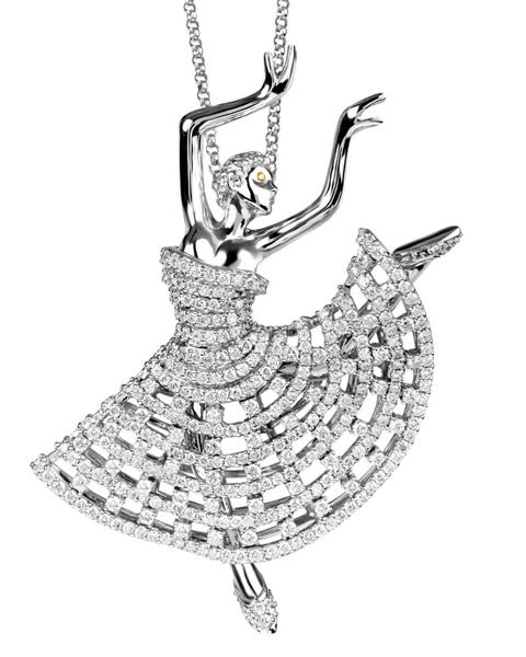 Ballet dancer Diamond pendant