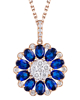 Sapphire and diamond pendant of half set