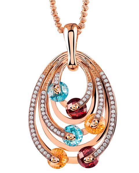 Multi color stone pendant
