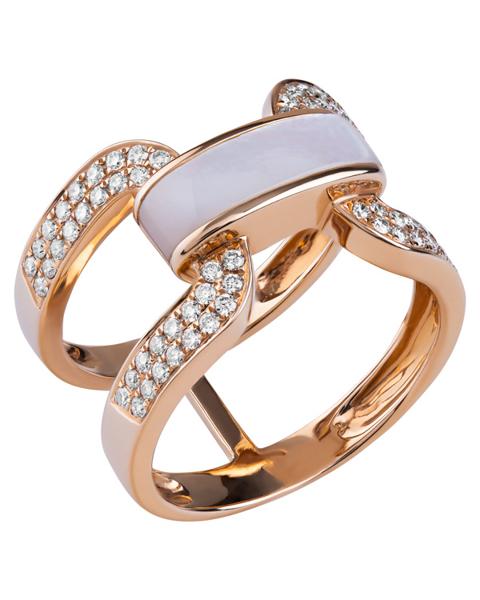 rose gold white shell ring