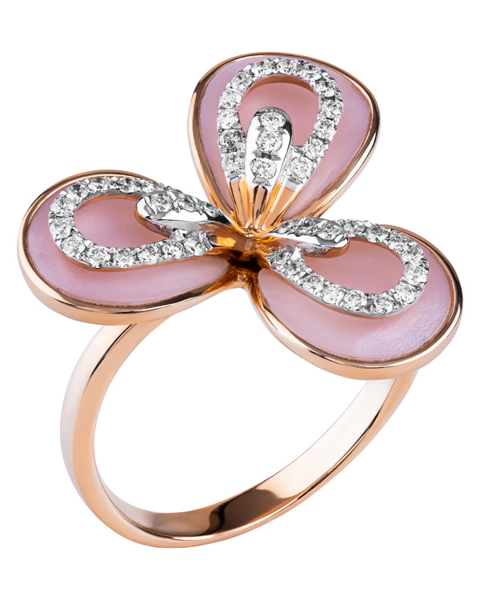 diamond and shell ring