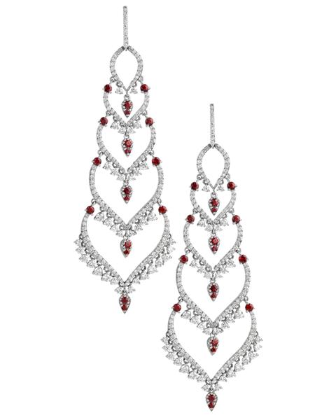 chandelier diamond and ruby earrings