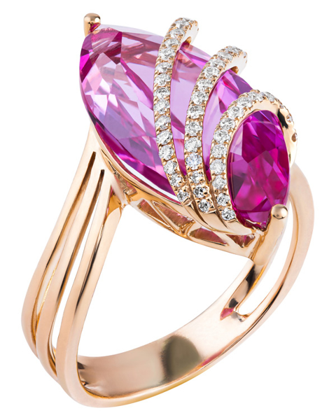 rose gold quartz and diamond ring