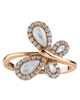 rose gold diamond and shell ring
