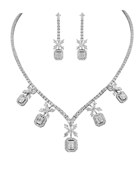 white gold marquise and baguette cut diamond half set