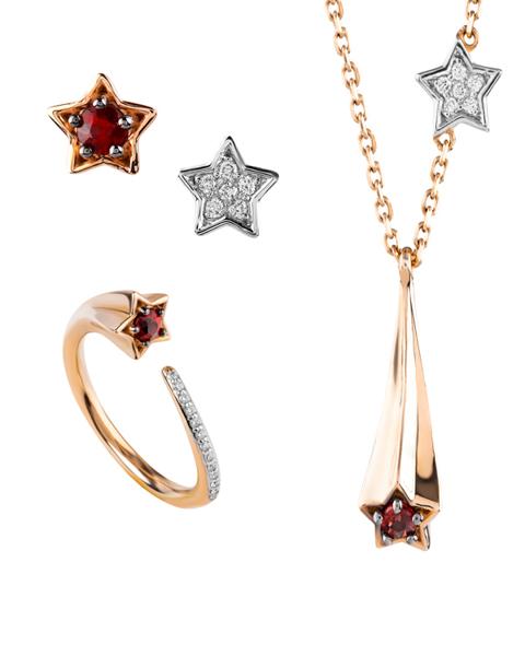 rose gold Ruby star set