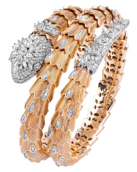 rose gold diamond snake bracelet