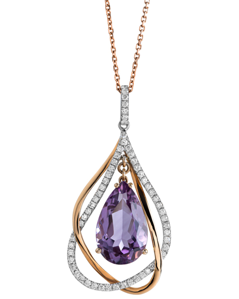 rose gold and white gold amethyst pendant