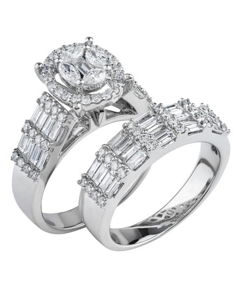 white gold baguette cut diamond double ring