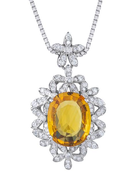white gold yellow sapphire pendant