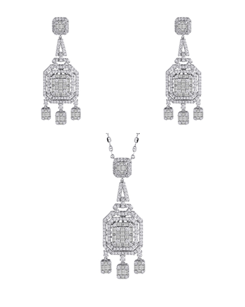 white gold round and baguette cut diamond half set