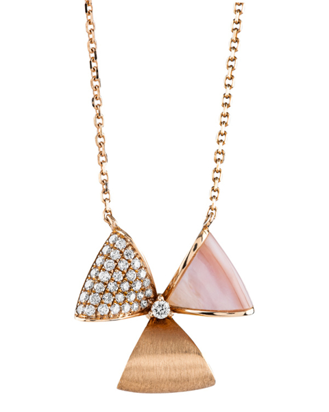 rose gold diamond and pink shell pendant