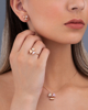 rose gold pink shell and diamond set