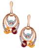 rose gold colorful stone earrings