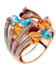 rose gold colorful stone and diamond ring