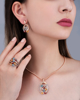 rose gold colorful stone and diamond set