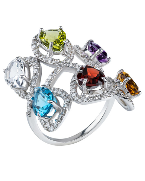 white gold colorful stone ring