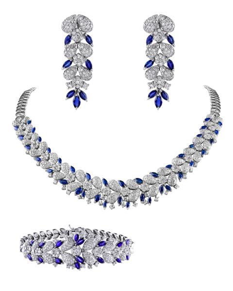 white gold sapphire set