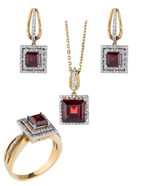 rose gold diamond and garnet set