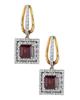 rose gold round cut diamond and garnet earrings