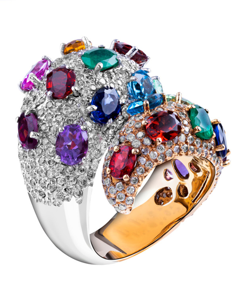 white gold and rose gold multi colour stone ring