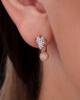white and rose gold diamond earrings