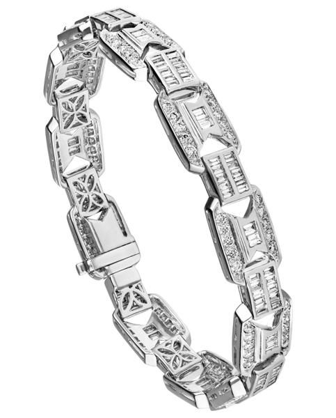 white gold round and baguette cut diamond bracelet